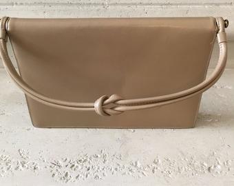 Vintage Tan Leather Top Handle Handbag