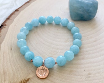 Gorgeous March Birthstone Aquamarine Yoga/Meditation Mala Bracelet w/ Karen Hill Tribe Rose Gold Lotus Charm and Spacer Beads