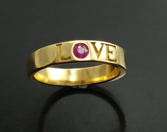 wedding gold ring, ruby gold ring, ruby ring, love ring, gold love ring, women wedding ring, unisex wedding ring, anniversary gift for her
