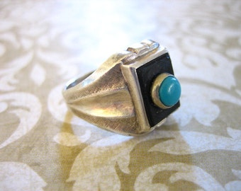 Vintage Sterling Silver Onyx w Turquoise Ring