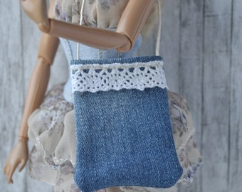 Handmade jeans bag for Barbie dolls