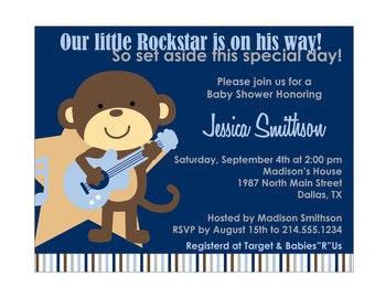 30 Rockstar Monkey Baby Shower Invitation or Birthday Invitation Cards (Printable file available)