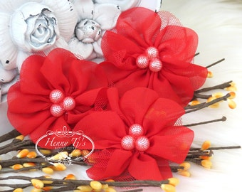NEW: 4 pcs Lavinia RED Soft Chiffon and Tulle w/ pearls Ruffled Fabric Flowers, Hair accessories. Headband Flowers. Scrapbooking.