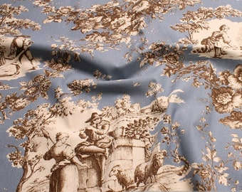 Fabric pure cotton rib azure Toile de Jouy rural roses brown 280 cm wide sky blue
