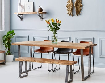 Industrial Reclaimed Wood - V Base Dining Table