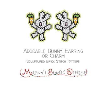 Adorable Bunny Earring or Charm - Brick Stitch Bead Pattern Easter Spring