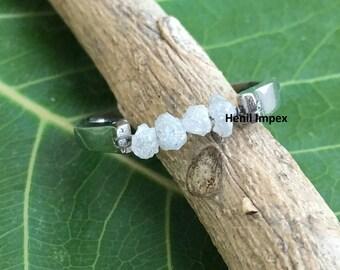 White Diamond Wedding Band Engagement Ring Sterling Silver Raw Rough Uncut Loose Diamonds Ring