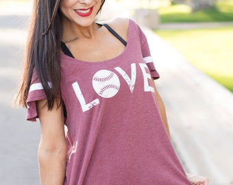 Baseball LOVE. Flutter Sleeved Sport Striped Tee. Baseball Softball Shirt. Made in the USA. Several Colors & Print Colors. Women's Shirt.