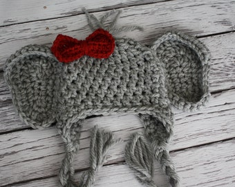 Elephant Hat - Baby Elephant Hat - Girl Elephant Hat - Baby Hats - Baby Halloween Costume - Elephant Hat with Bow Clip- by JoJosBootique