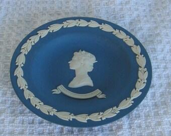 Wedgwood Royal Blue Jasperware Queen Elizabeth Jubilee Pin Dish