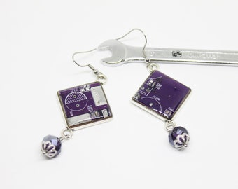 Computer earrings recycled motherboard, purple, gift for her, computer gift nerd, geeky earrings, technology gift, ecofriendly