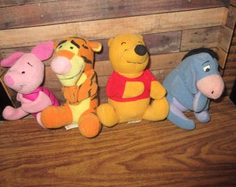 McDonalds Winnie the Pooh Toy Beanies, Eeyore, Pooh, Tigger and Piglet (1990s)
