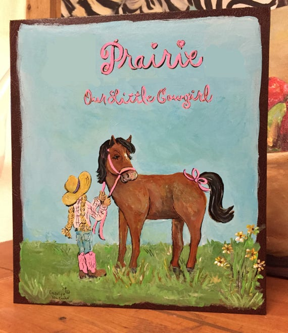 Little Prairie Cowgirl and Her Pony Baby Memory Book | Western Baby Keepsake Book | Personlaized Baby Memory Book