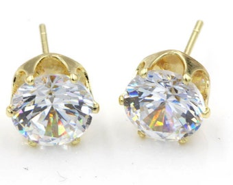 Stud crystal Earrings Diamond lab created, Brillant, round 8mm, clear white transparent, gold plated 18k silver, not allergic, girls, women