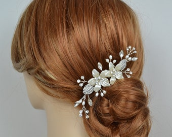 Bridal Hair Vine Clip Flowers Crystals Fresh Water Pearls Crystal Leaves Silver or Gold Tone Wedding Headpiece - Ships in 3-5 Business Days