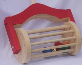 Toy Lawn Mower Push Toy - Handcrafted Wooden Red Lawn Mower Push Toy - Toddler Toy for Inside or Outside Play - Stable wide base for tots