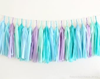 Purple, Turquoise, Mint, Aqua, Blue Tissue Paper Tassel Garland- Wedding, Birthday, Bridal Shower, Baby Shower, Mermaid Inspired
