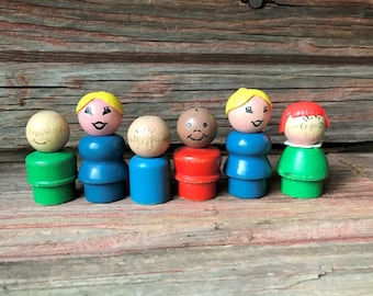 Fisher Price People - Set of 6 with Wood Bodies, Heads - One Straight Peg