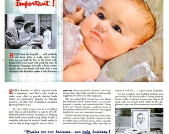 1954 Gerber's Baby Food & Green Giant Niblets Corn Advertisements Ads Print Poster Sign Nostalgia Typography Magazine Ad Wall Art Home Decor