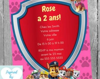 Pat Patrouille Invitation fête d'anniversaire fille & Carte de Remerciement, Téléchargement Instantané, Invitation français à Personnaliser