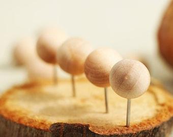 10 Pcs Round Wooden Push Pins - Drawing pin - Thumbtack - Pushpins for soft wood, kitchen, board, office