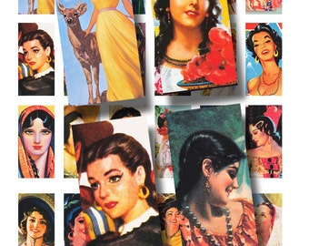 Latina Ladies, Mexican beauties, domino tile sized, 1 x 2 inch digital collage sheet no. 431