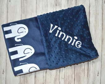 Monogrammed Minky Baby Blanket - Navy Blue with White Elephants - Personalized Blanket with Name, Boy Gift, Birth Stats Newborn Gift, Warm