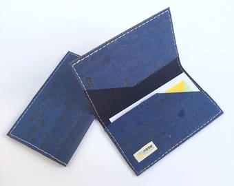 Vegan business card case, indigo cork fabric. Business card case. Card holder. Stocking stuffer.