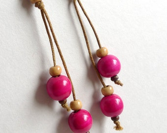 Long Pink Earrings, Eco Jewelry, Natural Earrings, Dangle Wood Earrings, Hippie Jewelry, Boho Earrings, Round Wood Bead Earrings