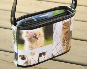Crossbody bag cat lovers, FREE SHIPPING, sustainable gift for women, vegan bag, upcycling by milo, naveh milo, green product