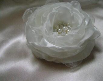 Ivory or Cream Silky Jewelled Bridal Hair Flower - Custom Color Choice Available