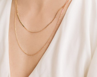 Dainty Double chain layered necklace, Layered Necklace, Double necklace, Double gold necklace, Bridal Necklace