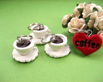 Coffee Cup Stitch Marker Set of 3, knitting stitch markers accessories, gift for knitters, knit, coffee charm, heart, polymer clay, tea cup