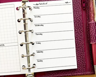 Pocket Week on One Page printed planner insert - Wo1P - weekly pages - undated - graph paper - this week