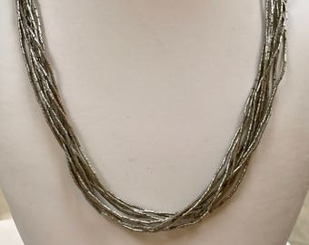 Vintage  925 Sterling Silver Multi Strand Necklace With Beads!!!  Free US Shipping!!!