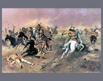 """For Supremacy, 1895, Charles Russell, Cowboy art, Western art, antique native american art, southwestern art pritnts, 11x14"""" canvas art"""
