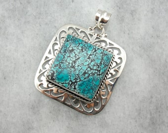 Fine Robin's Egg Turquoise with Spiderweb Matrix Pendant in Sterling Silver  DLQ5KA