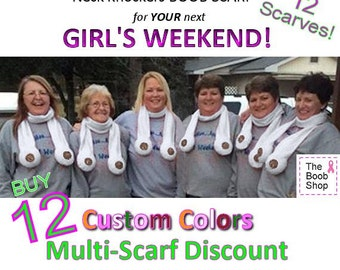 12 BOOB SCARVES  22% off Multi Boob Scarf order. Team accessories, Breast Cancer awareness, Dirty Santa Gifts, Girls weekend, Bachelor