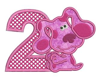 Magenta Puppy Blues Clues 2nd Birthday Applique Design 3 sizes Instant Download