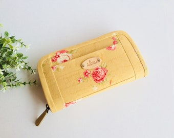 Wallet for women, Yellow wallet, Fabric wallet handmade, Pink roses wallet, Flowers wallet, Long wallet, Credit card wallet, Gifts for her