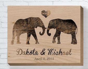 Wedding Gifts For Couple, Personalized Wedding Gift, Wedding Wood Sign, Engagement Gift, Anniversary Gift, Elephant Couple, Bridal Shower