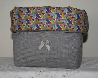 Fabric basket Organizer padded African triangles and gray