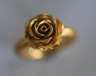Dream Rosenring in solid silver/22kt fine gold plated