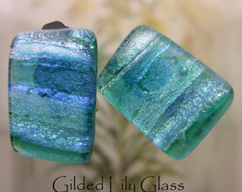 Emerald Dichroic Glass Clip Earrings, Handmade Fused Glass Jewelry from North Carolina