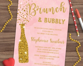 Bridal Shower Invitation - Wedding Shower Invitation - Couples - Engagement - Brunch & Bubbly - Printed or Printable - SHIPPING INCLUDED 5x7
