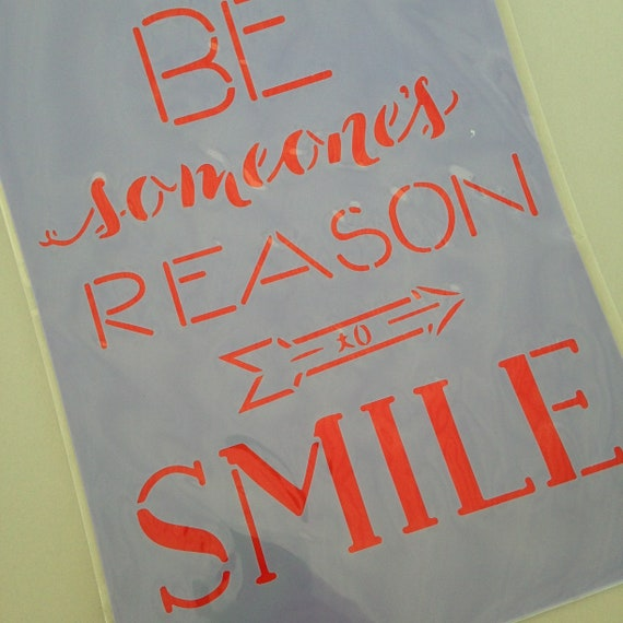Be someones reason to smile Quote Stencil /  template design perfect for mixed media, scrapbooking, journaling and so much more