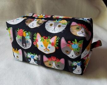 Flower Crown Kitties Box Zipper Pouch