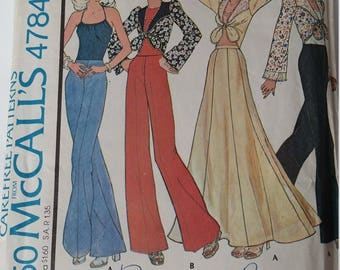 "Vintage 1975 McCall's Sewing Pattern 4784 Misses' top, halter and skirt in Size 12 (bust 34"")"