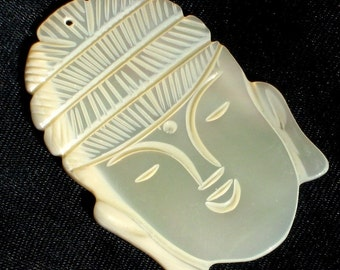 Buddha Carved Vintage Pendant Large Focal Charm Spiritual Lucky Dimensional MOP Mother of Pearl Unique Kitschy Jewelry Making That 70's Show