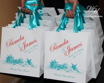 40 Beach Wedding Welcome Bags with satin ribbon and names - Custom Wedding gift Bag - Welcome to Our Wedding - Personalized Wedding favors